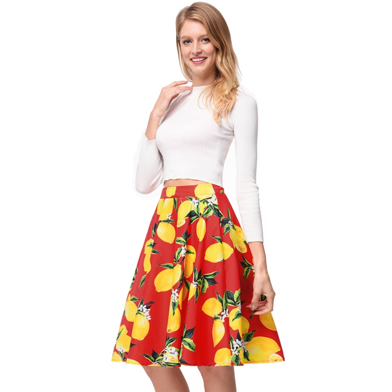 Retro Print Rose Summer Skirts Womens 2018 High Waist Vintage Skirt Elegant A-Line Midi Women Skirt Fashion Skirts Faldas Mujer