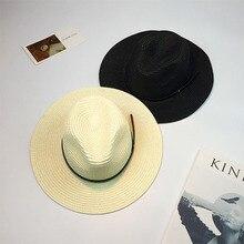 Jazz Hat Beach-Hats Sunhats Classic Female Women Summer Panama Black New for Chapeau-De-Paille