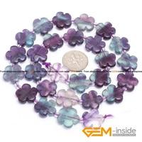 Fluorite 15mm Flower Shape Fluorite Beads Natural Fluorite Stone Beads DIY Loose Beads For Jewelry Making