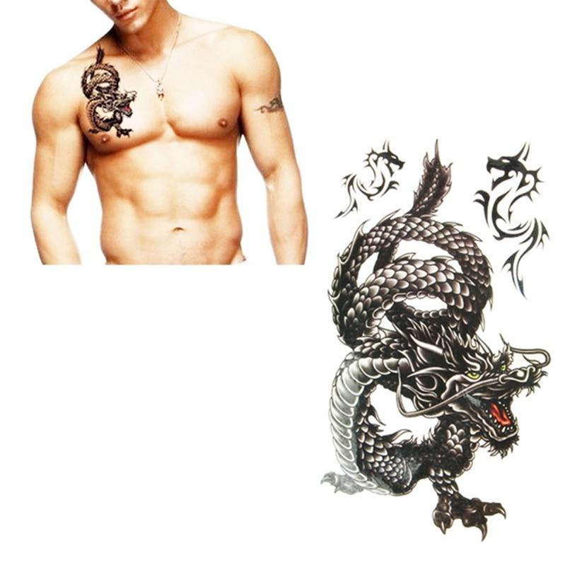 Drop Ship Black Dragon Totem Temporary Tattoo Body Art Arm Flash Tattoo Stickers Waterproof Fake Henna Painless Tattoo H30426