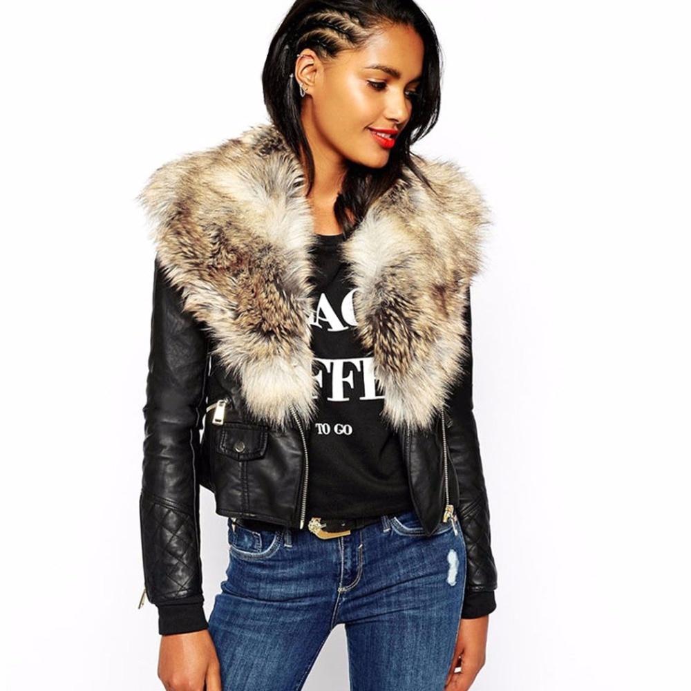 biker jacket with faux fur collar