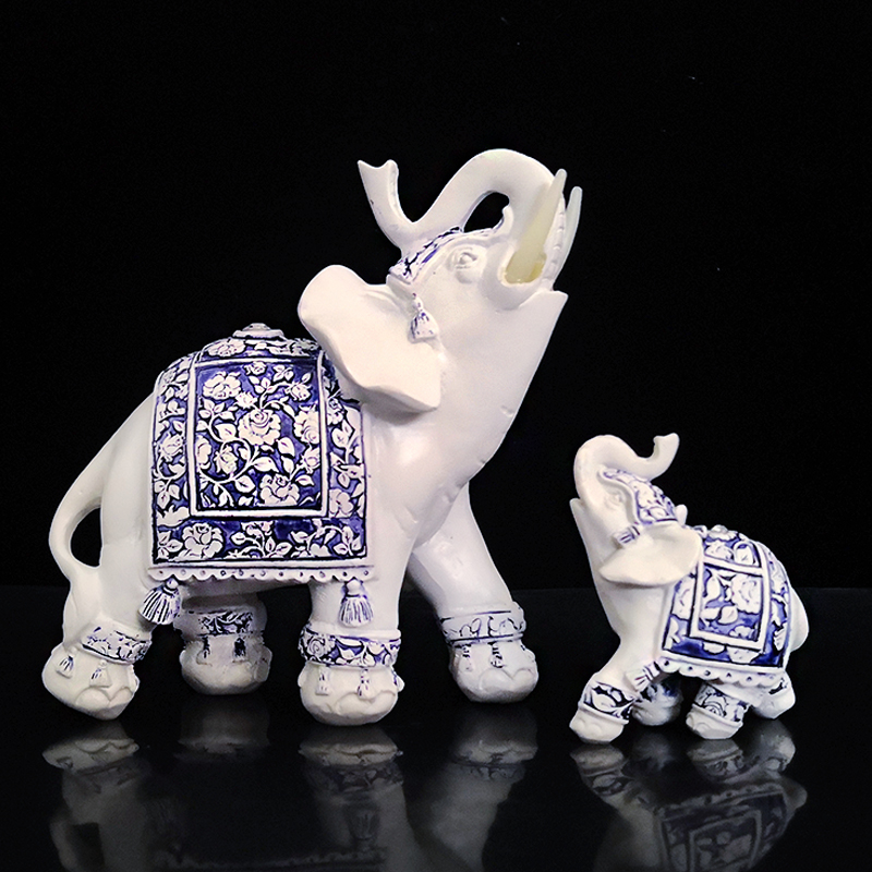 US $6 92 49% OFF Imitation blue and white porcelain Elephant Figurines  Resin Lucky Elephant Statue Garden miniatures Home Decoration  Accessories-in