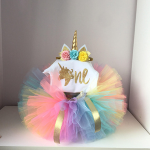 1 Year Birthday Dress Baby Girl Christening Gowns Unicorn Tutu Dress Outfits 12 Months Toddler First Infant Clothes Headband Set(China)