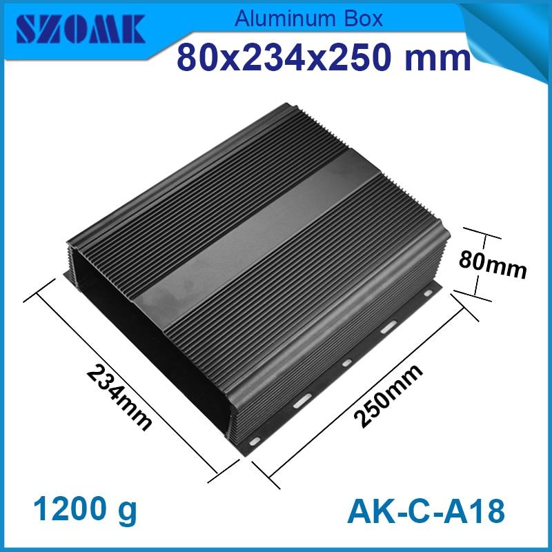 1 piece Thermally finale aluminum aluminum Black color housing80(H)x234(W)x250(L) mm 1 piece 3 u chassis rack mount chassis aluminum project box aluminum enclosure 132 h x482 w x250 l mm