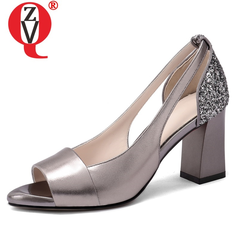 ZVQ shoes woman summer newest fashion sexy slip on high quality genuine leather woman sandals outside