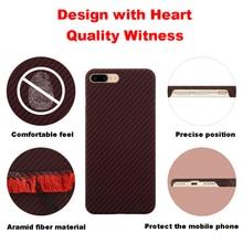 Funda de fibra de aramida Ultra delgada para iPhone X, carcasa de caucho mate con patrón de fibra de carbono para iPhone 7 8 7 Plus 8 Plus