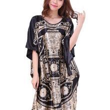 Размера плюс черный Для женщин летние Lounge Robe женские новые пикантные домашнее платье из искусственного шёлка ночной рубашке большой Сорочка свободного кроя халат S002-B