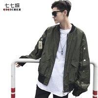 Autumn Fashion Rivet Decoration Men Bomber Jacket 2017 Solid Black Military Pilots Jacket Oversize Streetwear Baseball