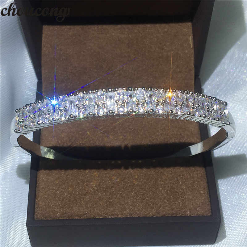 choucong Bridal Fashion bracelet shinning 5A cubic zirconia White Gold Filled Engagement bangle for women wedding accessaries