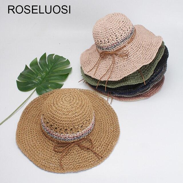 Roseluosi mujeres doblar sombreros de verano 2018 nuevo pliegue mano  crochet playa señoras Sol visera sombreros c5c96ab980e