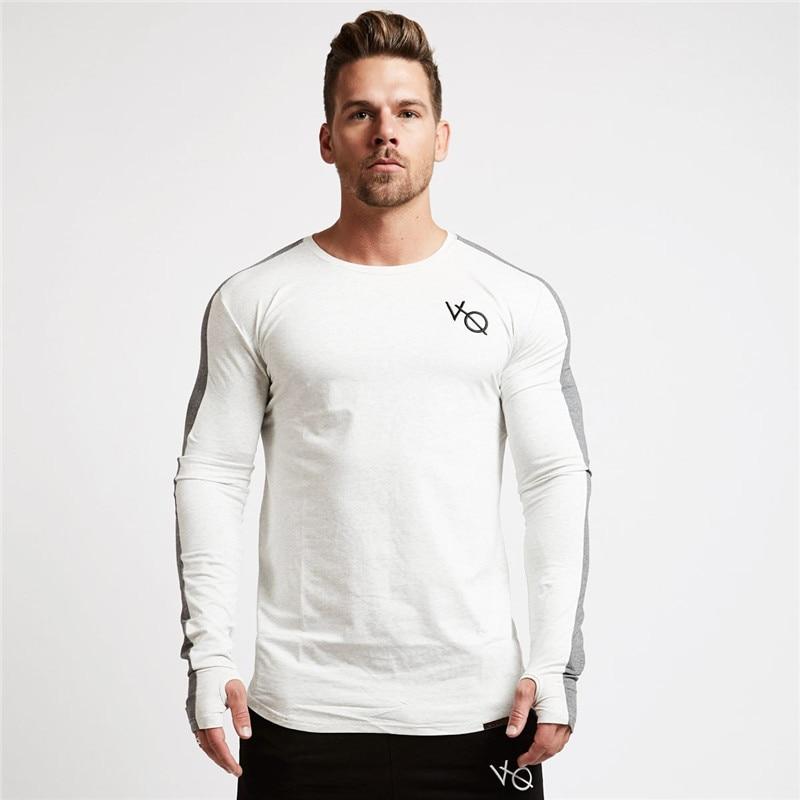 Brand mens fashion casual T-shirt 2018 new spring and summer Slim shirt mens shirt casual fitness long-sleeved personality shi