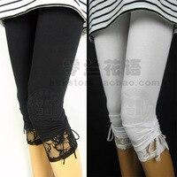 Lato cienkie elastyczne koronki łuk 100% czystej bawełny capris legging kobiet dorywczo duży rozmiar bawełna legginsy