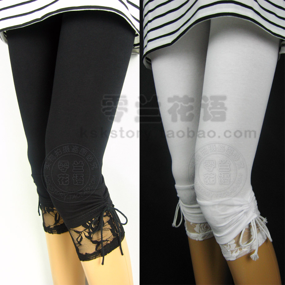 Summer thin elastic lace bow 100% pure cotton capris   legging   female casual big size cotton   leggings
