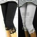 Verano delgada elástico de encaje arco 100% algodón capris legging femenino ocasional del tamaño grande de algodón puro leggings
