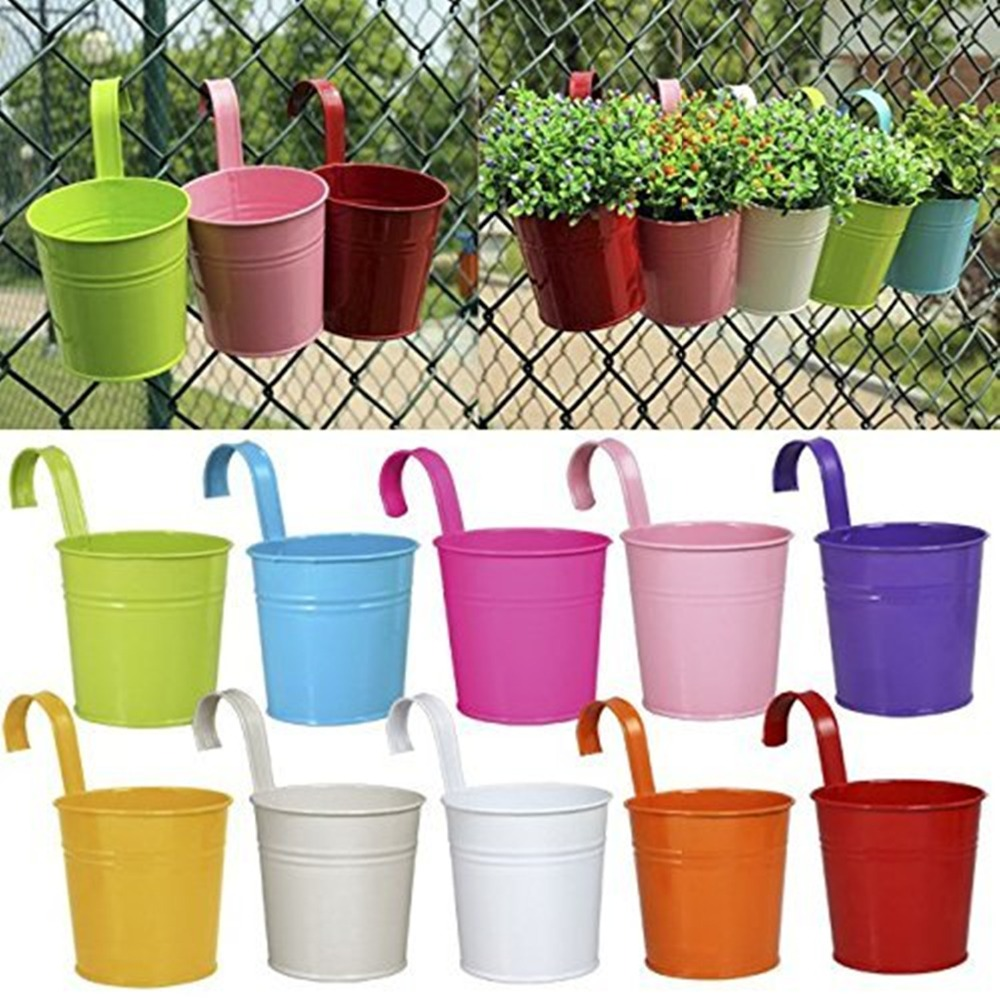 10Pcs Removable Hook Wall Fence Bonsai Flower Tub Pots Candy Color Iron Bucket Tin Garden Balcony Hanging Succulent Basket