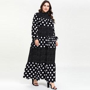 Image 3 - Kobiety Ruffles stanąć szyi kropki Maxi długie sukienki Vestidos z długim rękawem w paski łatka muzułmańskie Abaya strój islamski m 4xl