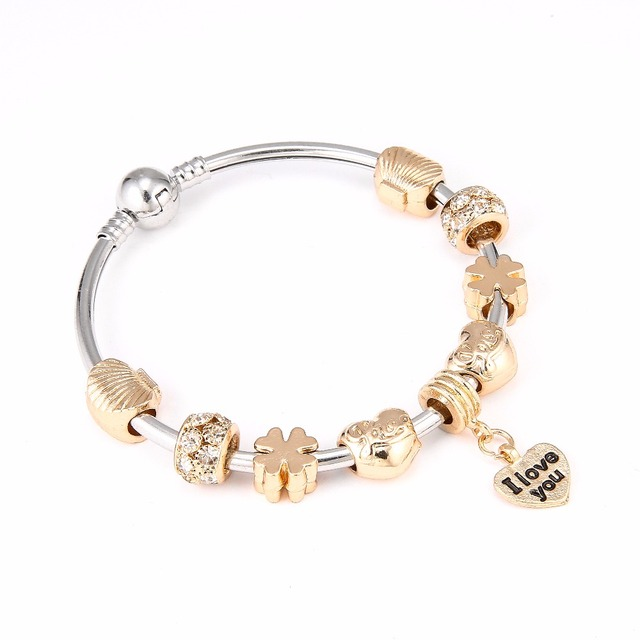 d302cefc5 Gold Color Charm Bangle with Summer Style Shell & Open Your Heart Charm  Bracelet Lucky Friendship