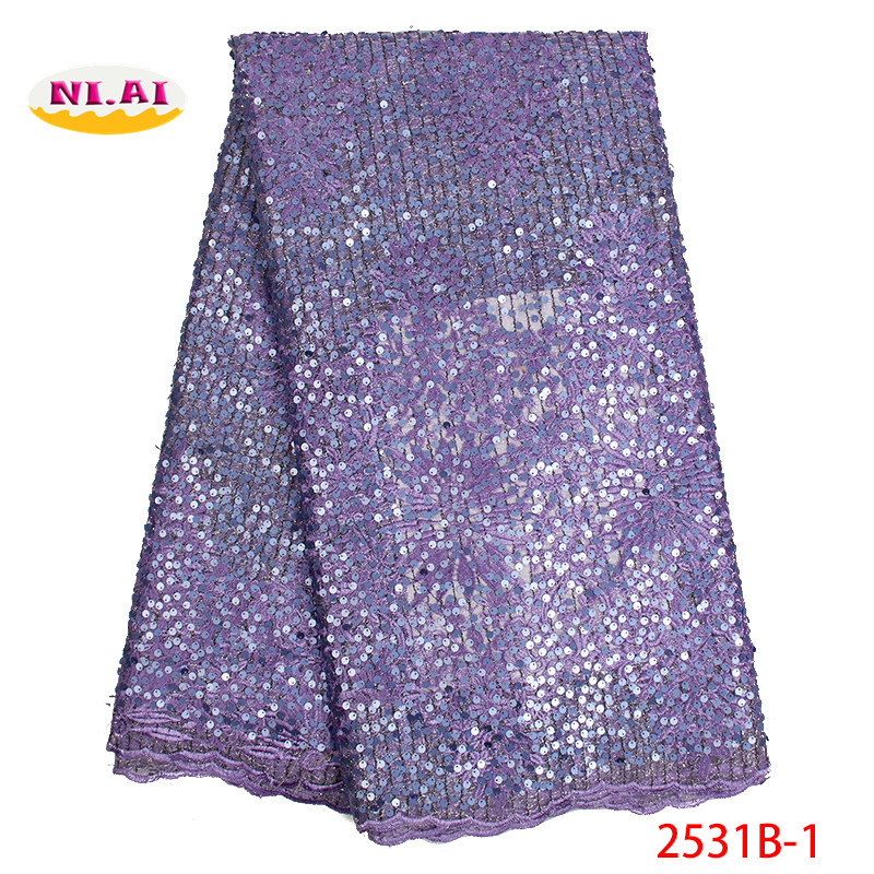 Lace Floral In Purple High Quality Sequin Tulle Lace High Quality Lace Fabric African Full Sequin