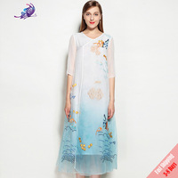 High Quality Autumn Runway Dress 2017 Women S Brand Designer Chinese Style Painted Embroidered Long Dresses