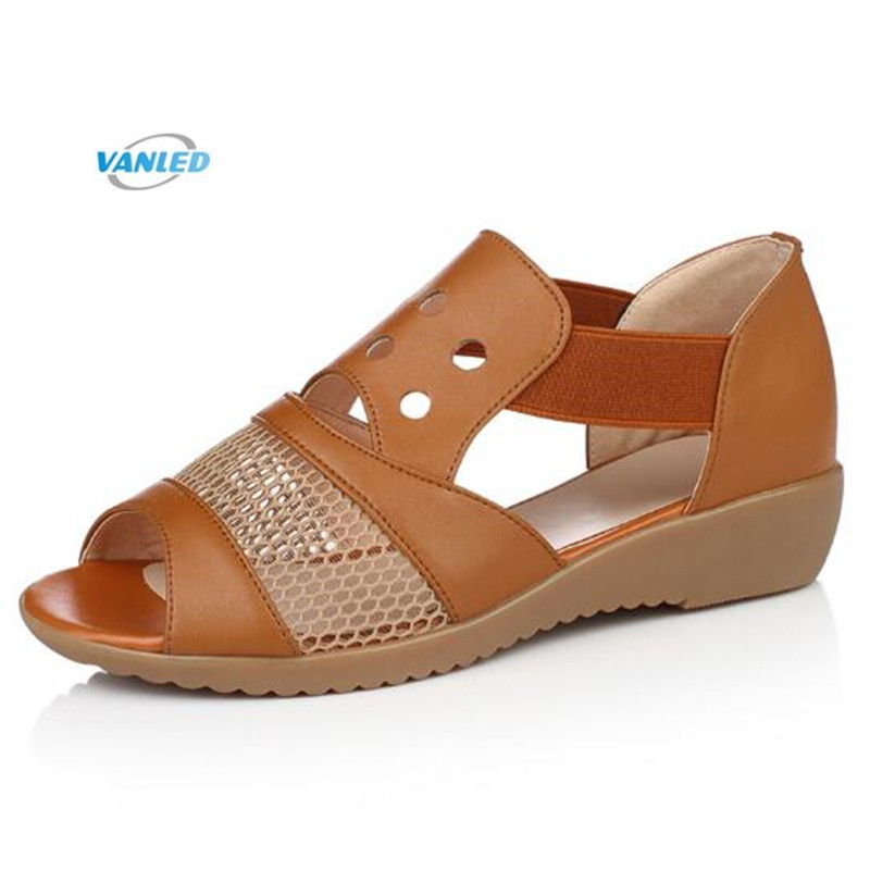 2018 New Full Genuine Leather Shoes Summer Female Sandals with Hollow Lace Comfortable Women Shoes Casual Sandals Flat Plus Size aiyuqi2018 new genuine leather women summer sandals comfortable fish casual mouth plus size 41 42 43 mother sandals shoes female