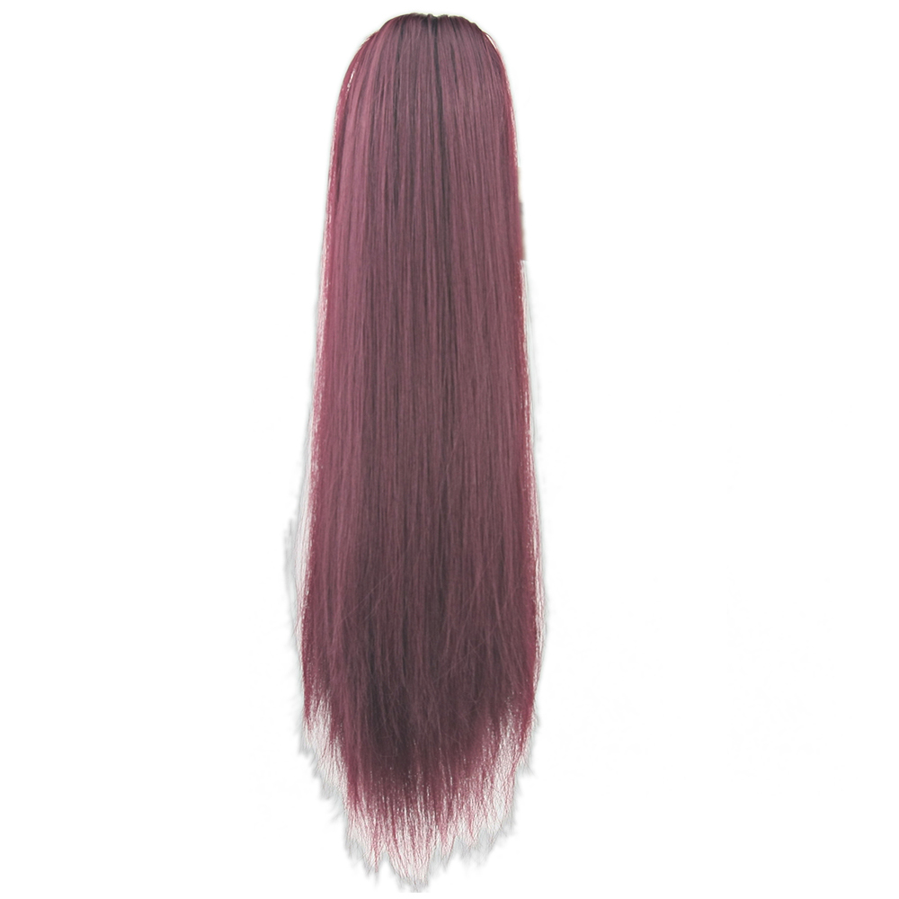 Soowee 15 Colors Long Straight Clip In Hair Extensions Red Little Pony Tail High Temperature Fiber Synthetic Hair Claw Ponytail Synthetic Ponytails