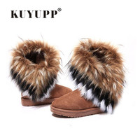KUYUPP Fur Boots Winter Warm Ankle Boots For Women Snow Shoes Woman Round-toe Slip On Female Flock Snow Boot Ladies Shoes DX910 3