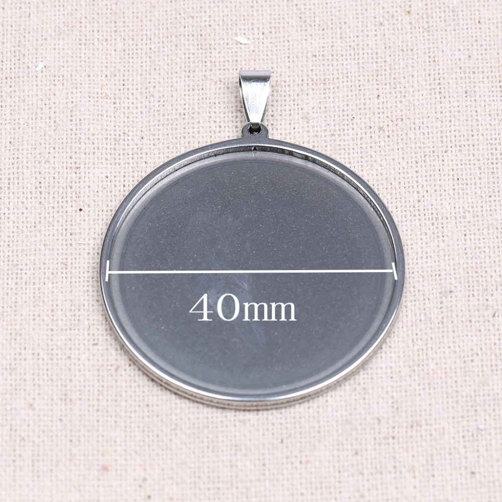 reidgaller 5pcs 40mm dia stainless steel blank pendant cabochon <font><b>base</b></font> <font><b>settings</b></font> diy <font><b>jewelry</b></font> bezel trays for necklace making image