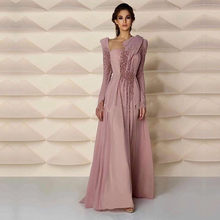 Middle East Style Muslim Long Sleeve Pearls Skin Pink Long Formal for Women  Arabic Gowns Bridesmaid Dresses 3104c87745ed