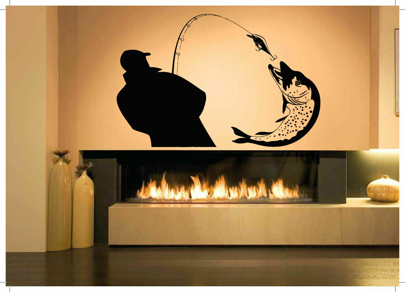 Home Decor Vinyl Wall Decal Fishing Hobby Sticker Mural Art Deco Interior Wallpaper 2KN20-in Wall Stickers from Home & Garden