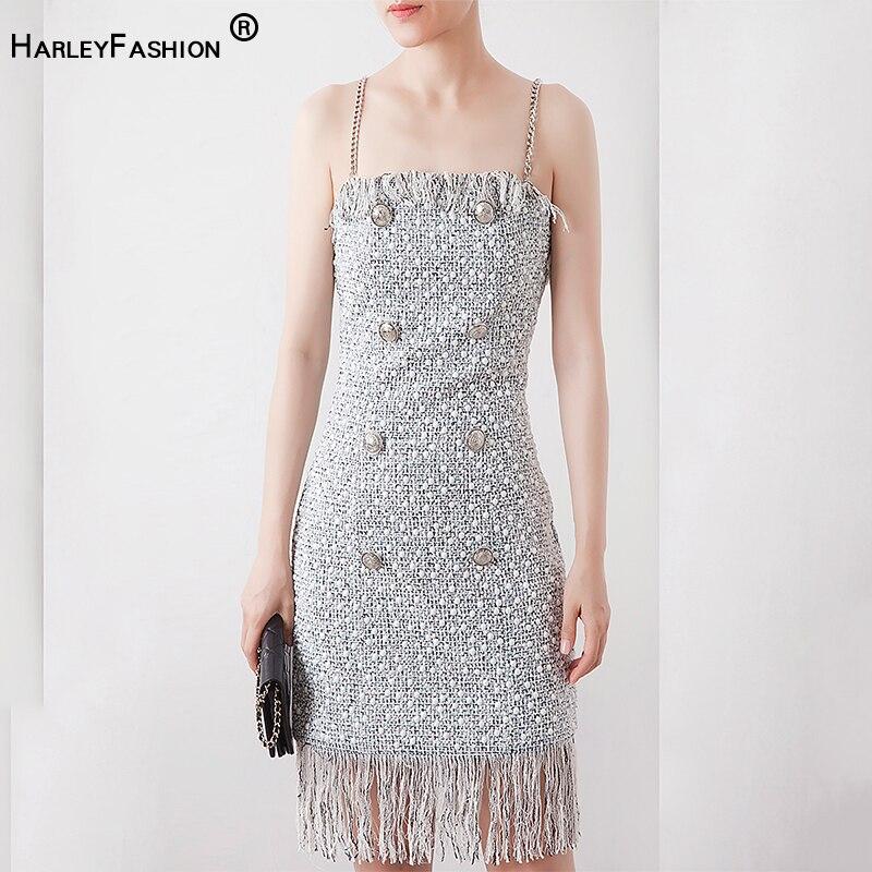 HarleyFashion Hohe Qualität Neue Design Europäischen Sommer Sleevless Spaghetti trägern Quaste Gerade Dünnes Kleid Tasten Tweed Kleid-in Kleider aus Damenbekleidung bei  Gruppe 1