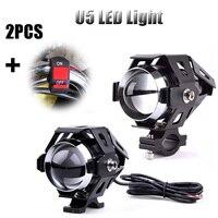 New Motorcycle Headlight 2pcs 125W U5 LED Driving Fog Light Spot Lamp Aluminum Alloy Super Bright