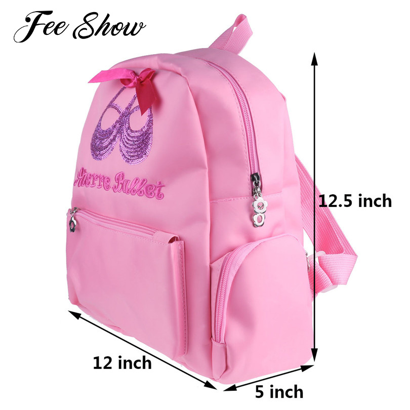 Pink Kids Girls Lovely Fashion Students School Backpack Ballet Dance Bag Sequin Toe Shoes Embroidered Shoulder Bag Gym Backpack