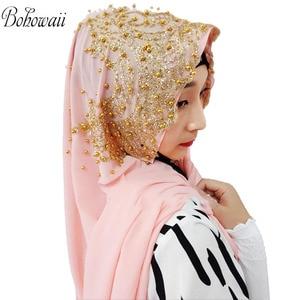 Image 4 - BOHOWAII Muslim Jersey Hijab 25colors Femme Musulman Gold Diamonds Sequins Long Scarf Hijabs Hoofddoek Fashion Chiffon Turbante