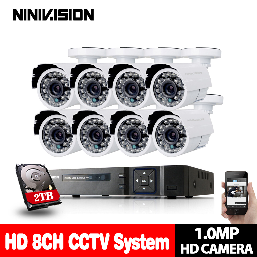 8CH DVR 1080P HDMI CCTV System Video Recorder 8PCS 2000TVL Home Security 720P Waterproof Night Vision Camera Surveillance Kits