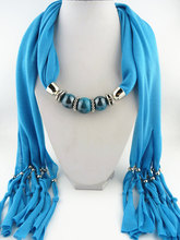 2014 Fashion New design tassel scarf two-color beads pendant Free shipping