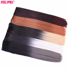 Feilimei 60cm Long Straight Women 5 Clips in Hair Extensions Black Brown High Tempreture Synthetic Gray Blonde Hair Pieces(China)