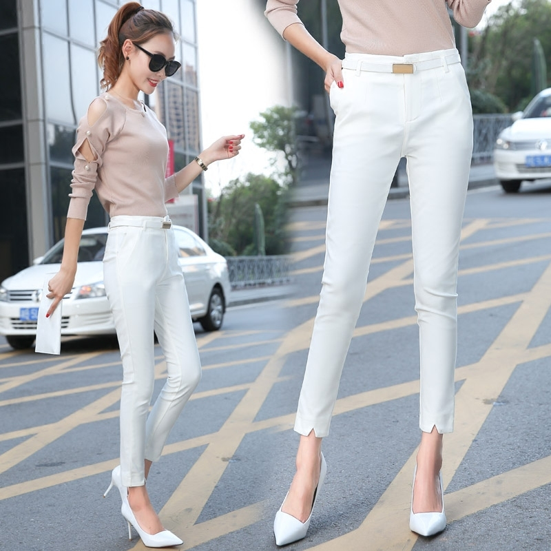 High Quality Women Suit Pants Skinny OL Office Lady Autumn White Pencil Pants High Waist Trousers Female Plus Size S 4XL F195 in Pants amp Capris from Women 39 s Clothing