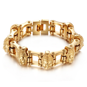 Image 2 - Cool Jewelry Heavy 155g Gold Stainless Steel Biker Motorcycle Chain Mens Gifts Buddha Head Bracelet 8.8 20mm