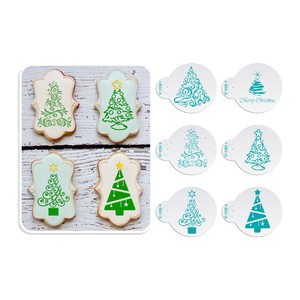 Image 2 - 6pcs/set Christmas Tree Cake Lace Stencils Wedding Party Cookie Mould Cupcake Decoration Template Cake Tool
