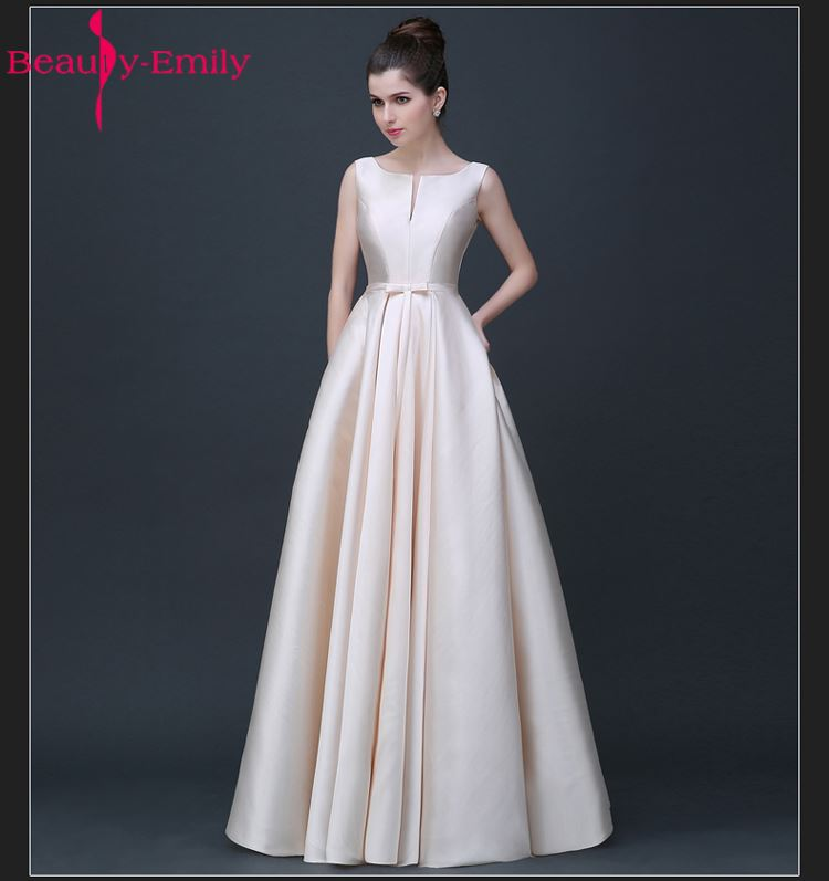 2018 Beauty-Emily Long Cheap Stain Pink Black Evening Dresses Boat Neck Floor-Length A-Line Lace Up Prom Dress Party Occasion