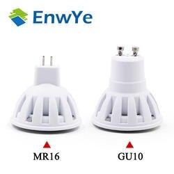 EnwYe светодио дный лампа GU10 MR16 светодио дный лампы 2 Вт 3 Вт 4 Вт 5 Вт 6 Вт 220 В лампада светодио дный конденсаторный лампа диффузии Spotlight