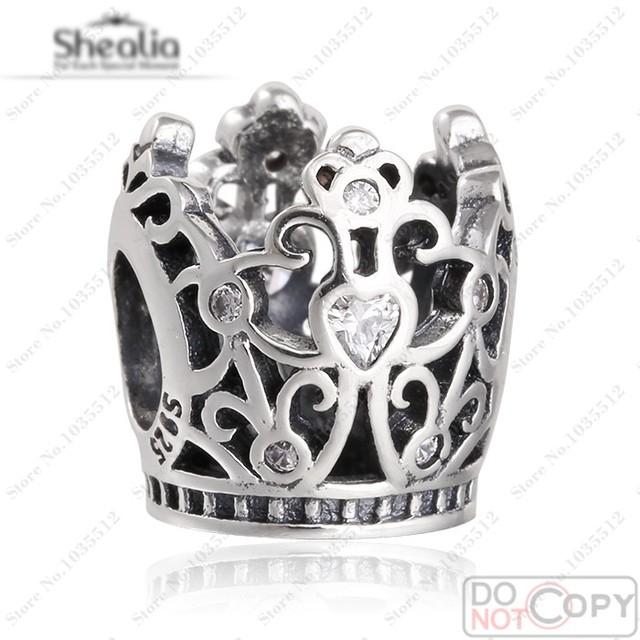 Princesa coroa charme Fit europeu pulseiras Authentic 925 prata zircão princesa coroa charme Diy jóias fazer