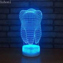 3d Светодиодная настольная лампа в форме зуба сенсорный цветной
