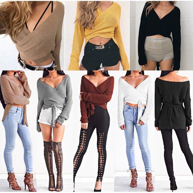 Hirigin Women Sweaters Crop Top Casual Long sleeve Knitted Loose Sweater Knitwear For Women Belt Deep V Neck Outwear Fashion