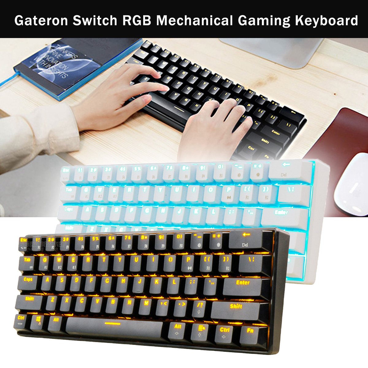 RK 61 Gateron Switch RGB Mechanical Gaming Keyboard bluetooth LED Backlit Waterproof for Desktop English Layout ducky one cherry mx red