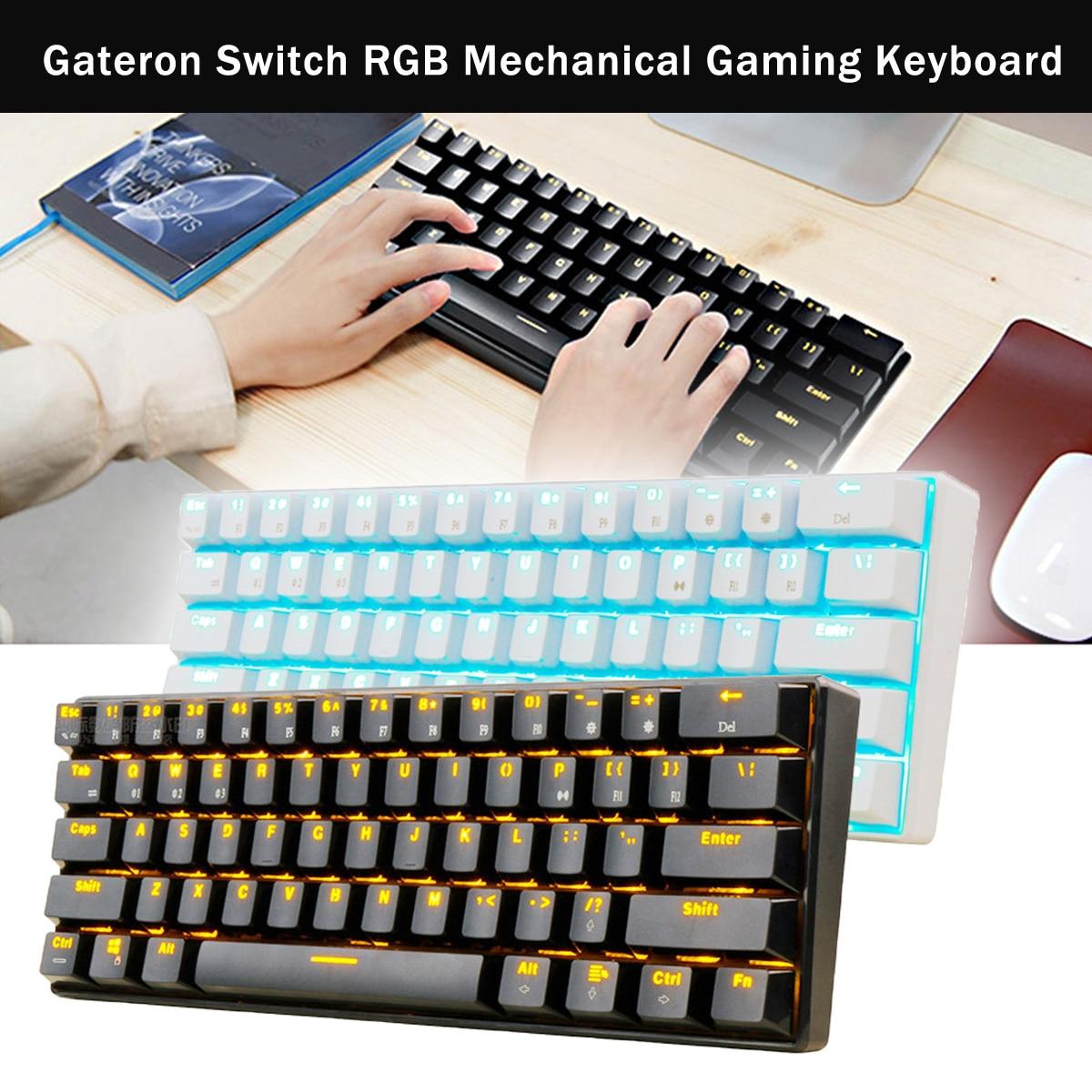 Gateron Switch RGB Mechanical Gaming Keyboard Bluetooth LED Backlit Waterproof for Desktop English Layout 61 keys mini mechanical keyboard anne pro bluetooth rgb gateron switch brown gaming keyboard bt4 0 wireless programmable