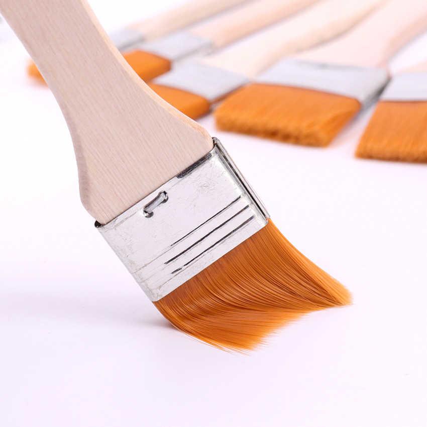 6 estilos de pintura al óleo de la acuarela pinceles de Nylon pintura para el cabello cepillo de arte fácil de limpiar cepillo de limpieza de madera suministros de arte