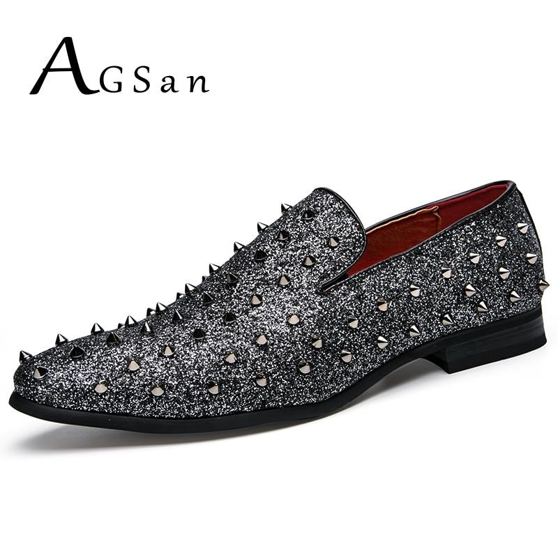 AGSan Silver Black Spikes Rivet Shoes Rhinestones Glitter Men Loafers  Smoking Slipper Casual Shoes Wedding Dress Men s Flats 02e85bca0645
