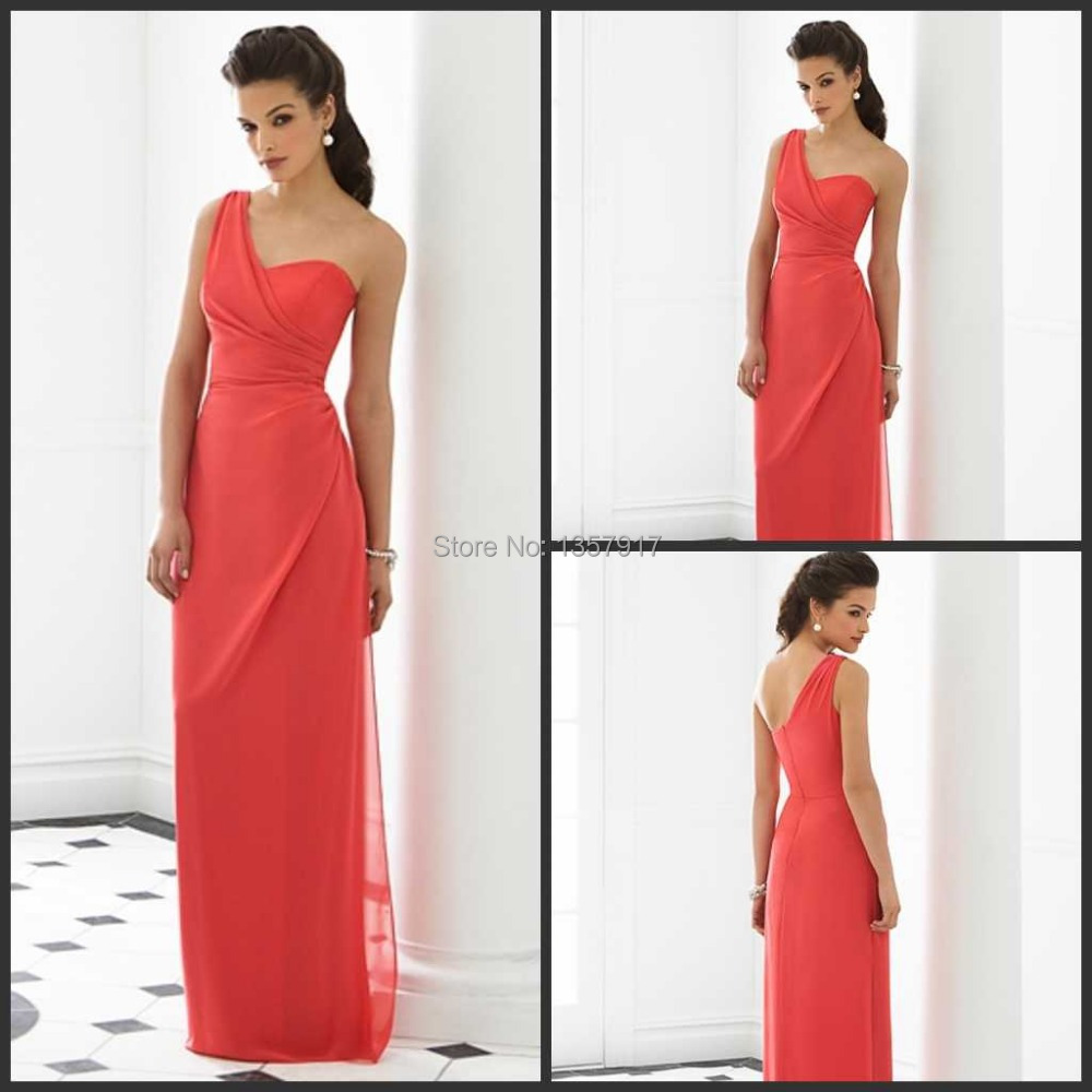 Wedding Long Coral Bridesmaid Dresses online get cheap coral bridesmaid dresses aliexpress com after six dress watermelon elegant one shoulder sweetheart bodice chiffon long free