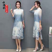 2017 New Spring Autumn Women Dress Three Quarter Sleeved Retro Printing Loose Chinese Style Dresses Robe Women's Clothing